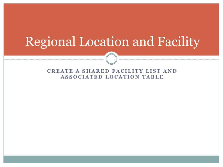 Regional Location and Facility