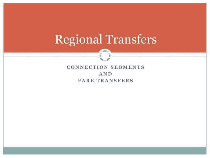 Regional Transfers
