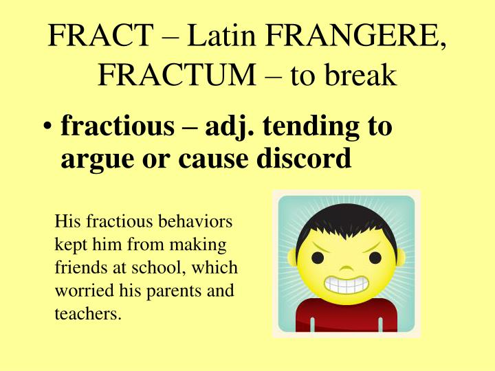 Fract latin frangere fractum to break