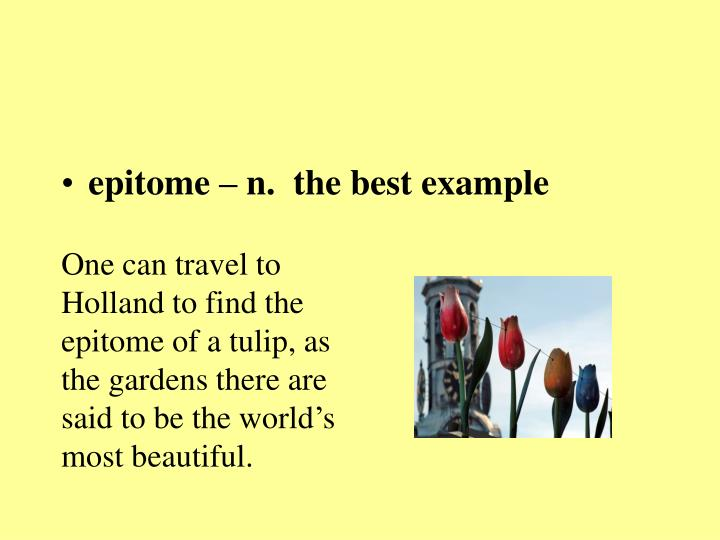 epitome – n.  the best example