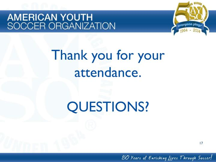 Thank you for your attendance.