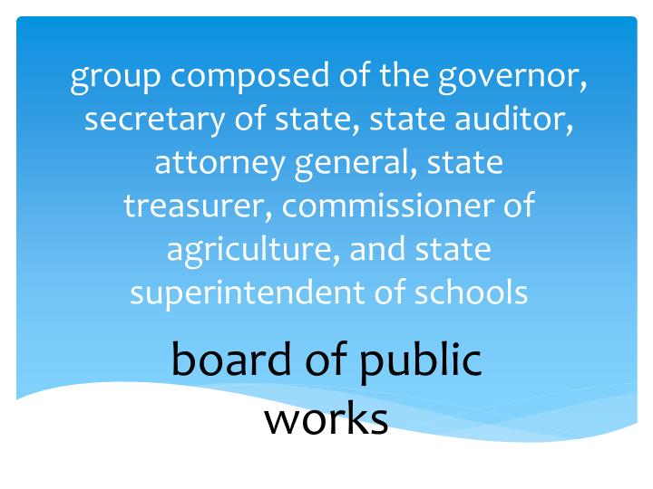group composed of the governor, secretary of state, state auditor, attorney general, state