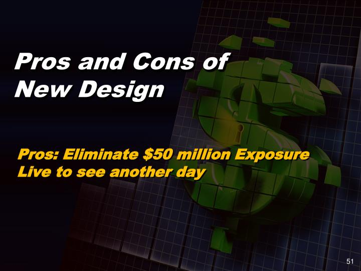 Pros: Eliminate $50 million Exposure