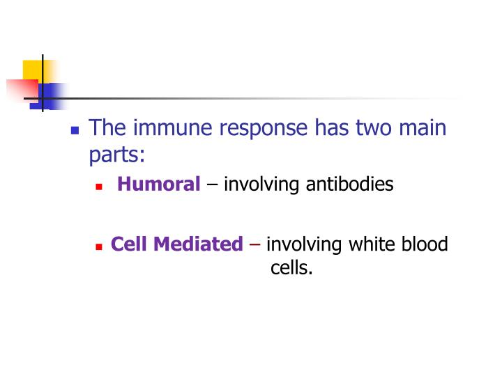 The immune response has two main parts: