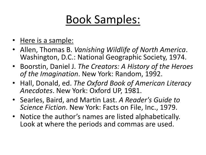 Book Samples: