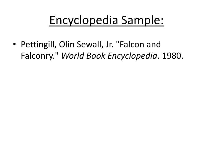 Encyclopedia Sample:
