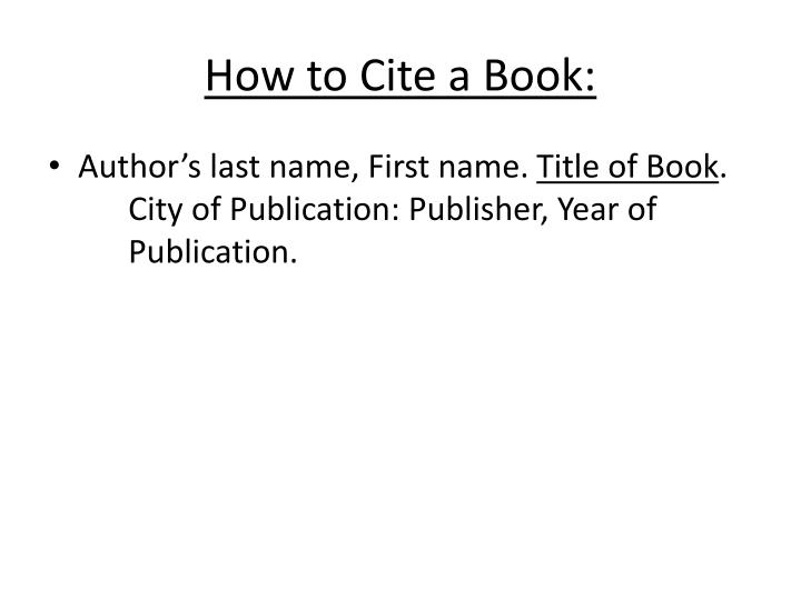 How to Cite a Book: