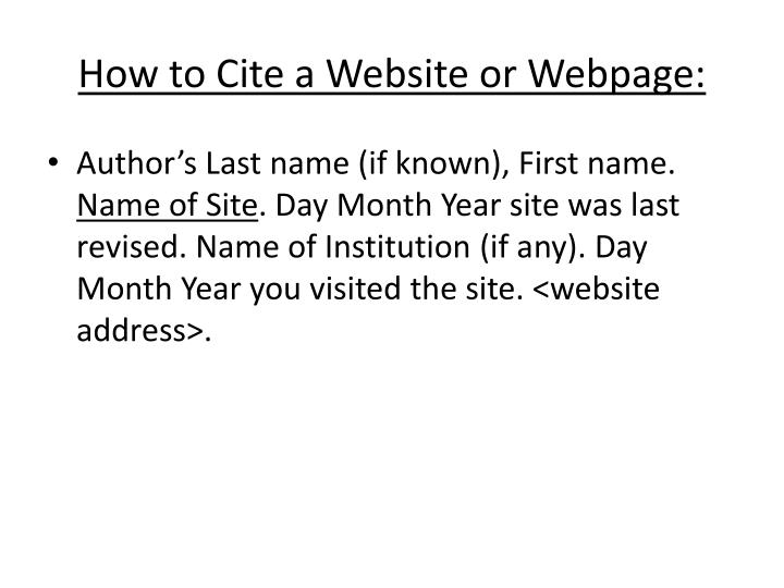 How to Cite a Website or Webpage: