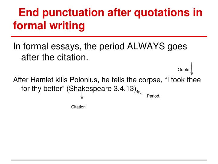 End punctuation after quotations in