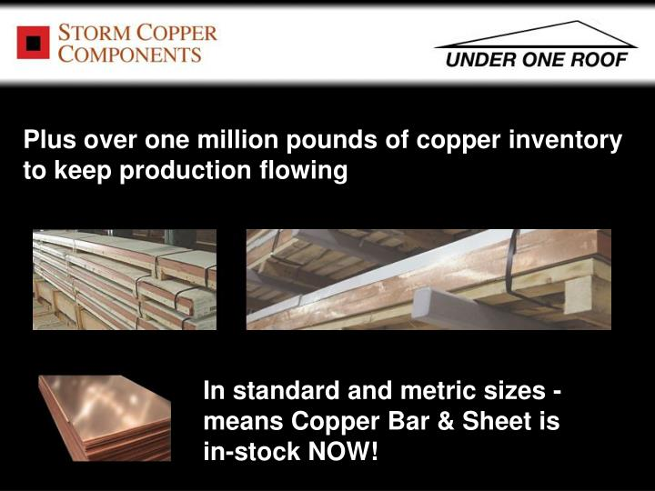 Plus over one million pounds of copper inventory to keep production flowing