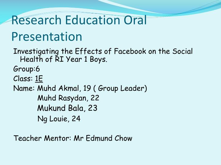 Research education oral presentation