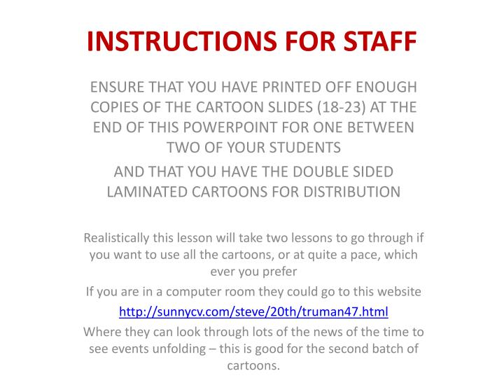 instructions for staff