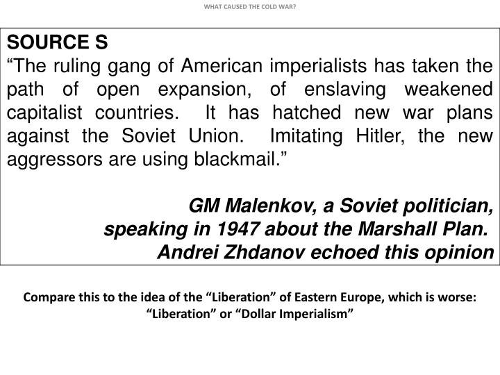 "Compare this to the idea of the ""Liberation"" of Eastern Europe, which is worse:"