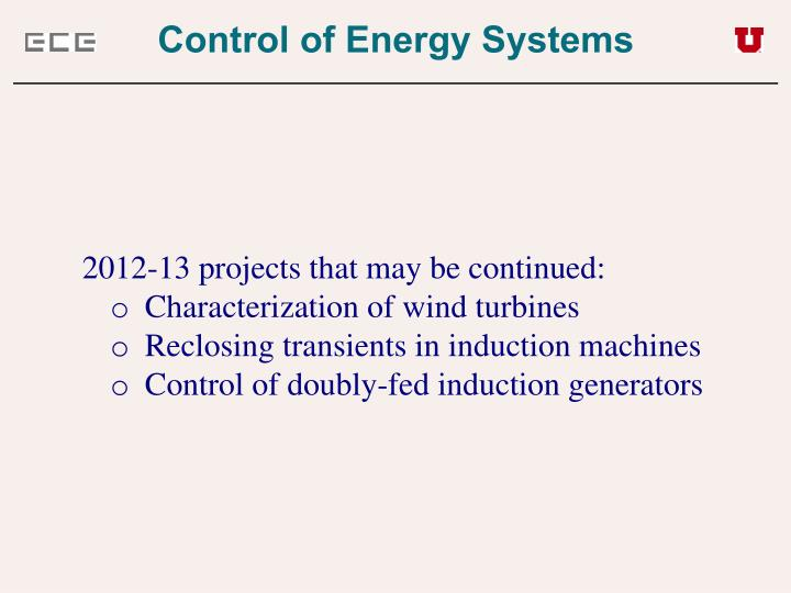 Control of Energy Systems