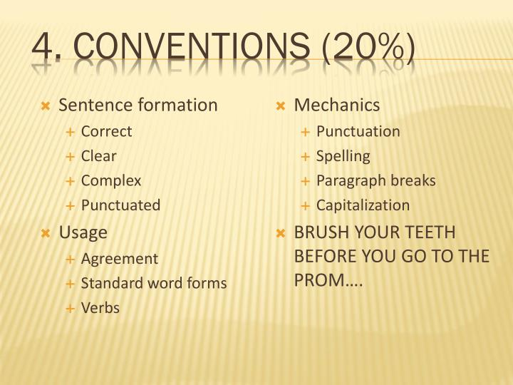 4. Conventions (20%)
