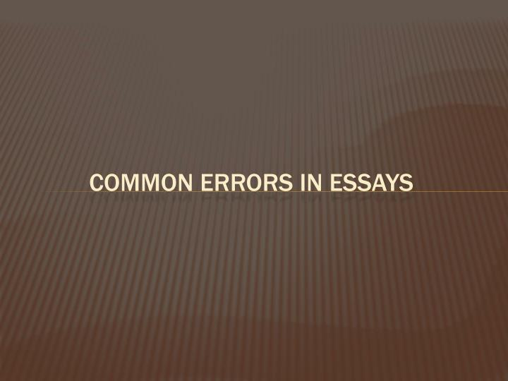 Common errors in Essays