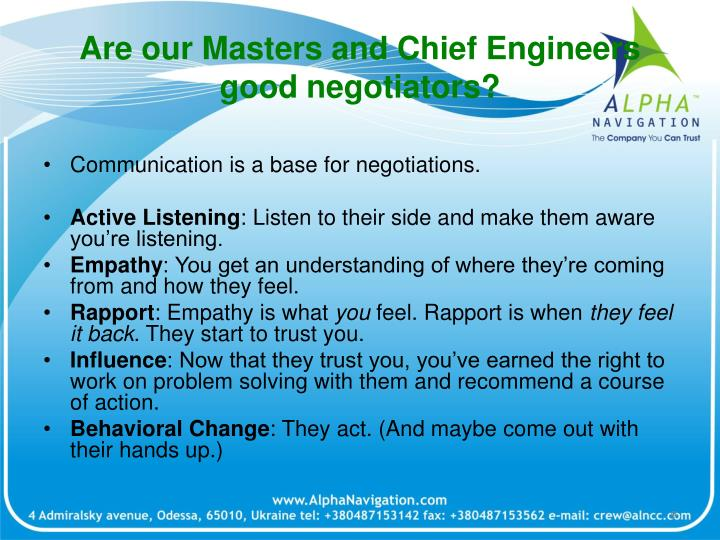 Are our Masters and Chief Engineers good negotiators?