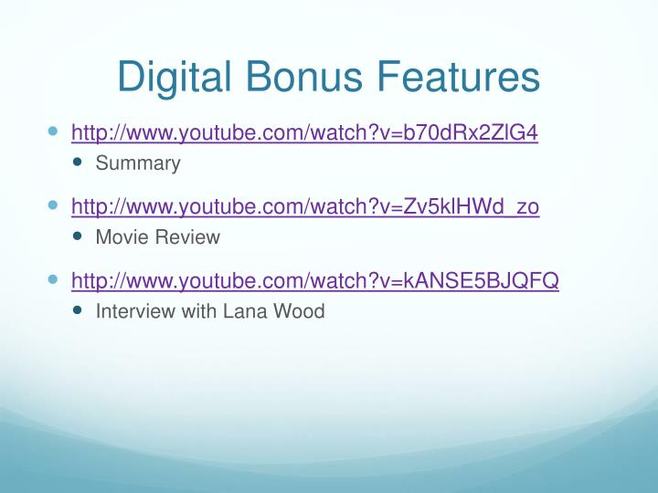 Digital Bonus Features