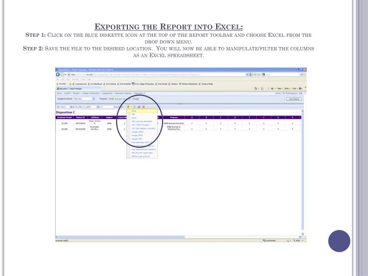 Exporting the Report into Excel: