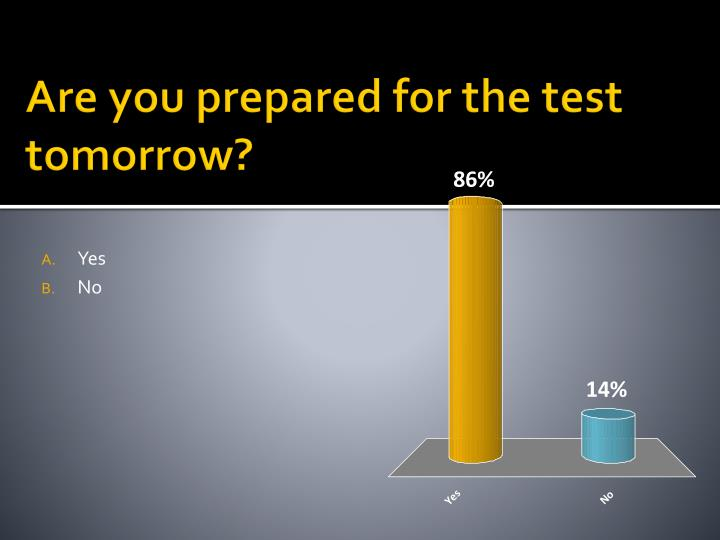 Are you prepared for the test tomorrow?