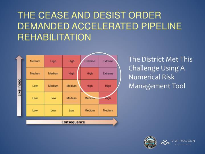 The cease and desist Order demanded Accelerated pipeline rehabilitation