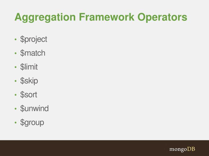 Aggregation Framework Operators