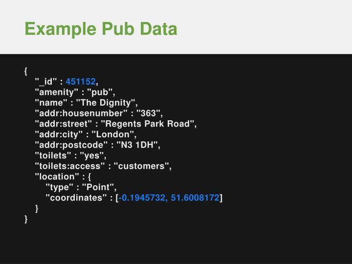 Example Pub Data