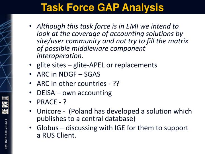 Task Force GAP Analysis