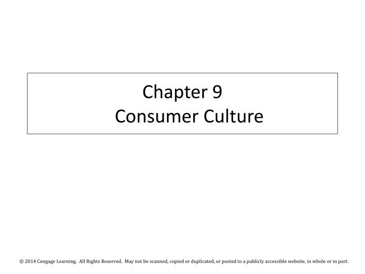 Chapter 9 consumer culture