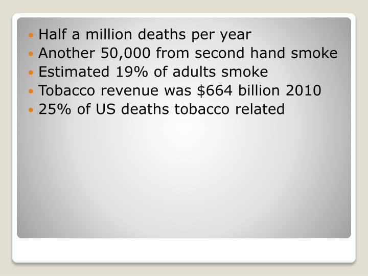 Half a million deaths per year