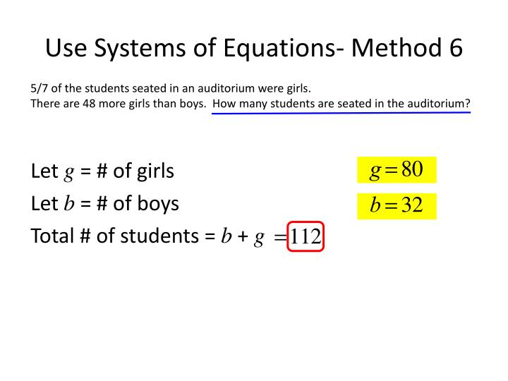 Use Systems of Equations- Method 6