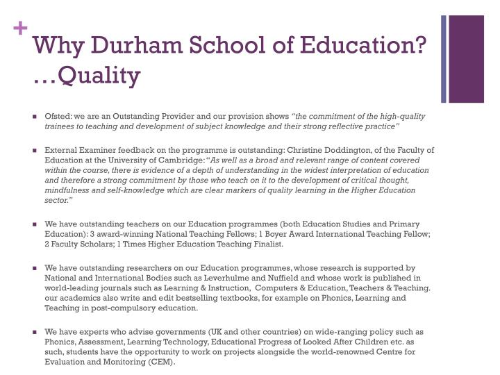 Why Durham School of Education?