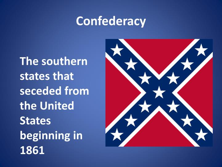 The southern states that seceded from the United States beginning in 1861