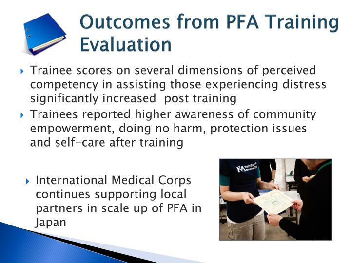 Outcomes from PFA Training Evaluation