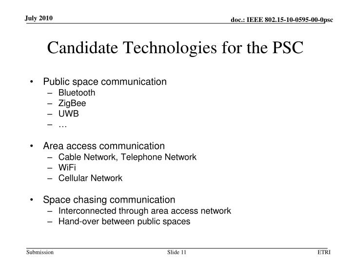 Candidate Technologies for the PSC