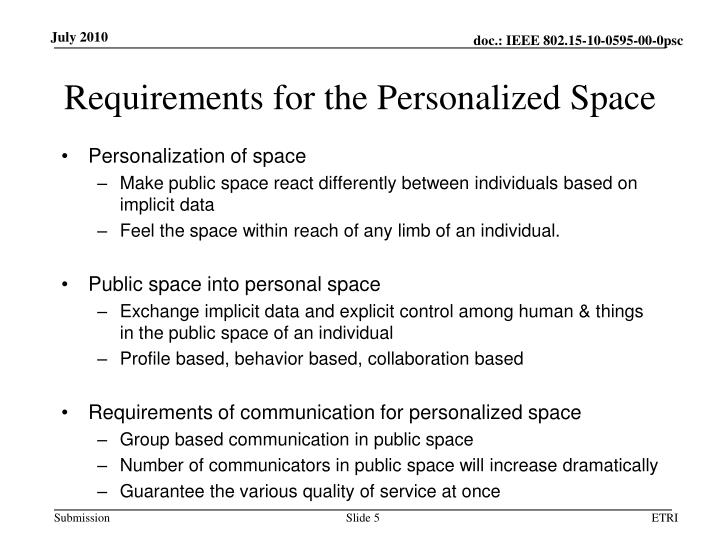 Requirements for the Personalized Space