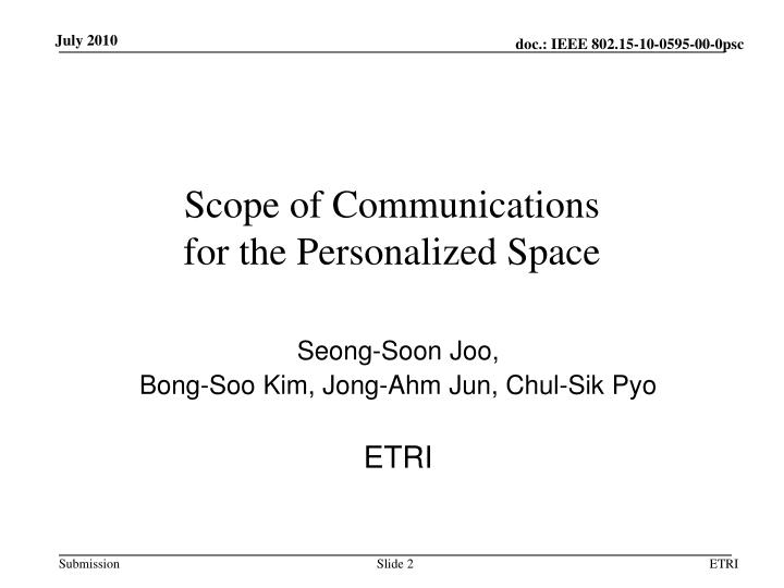 Scope of communications for the personalized space