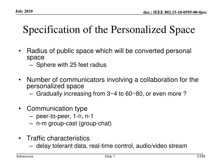 Specification of the Personalized Space
