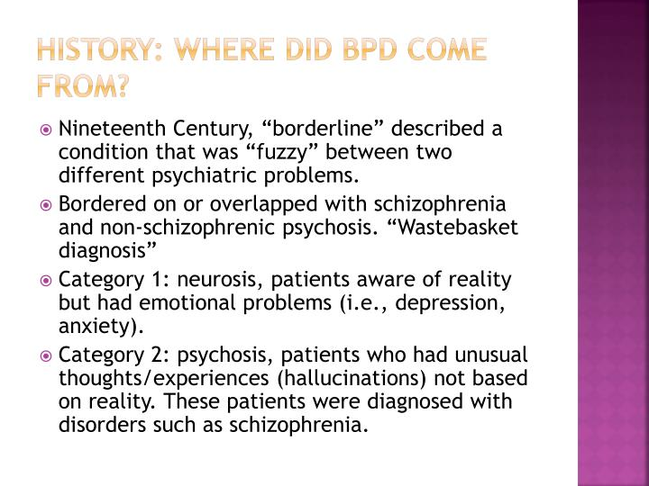 History: Where did BPD come from?
