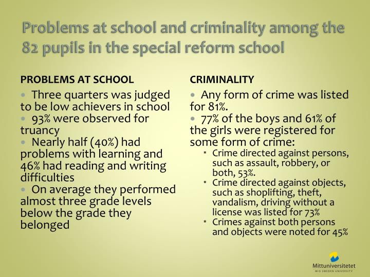 Problems at school and criminality among the 82 pupils in the special reform school