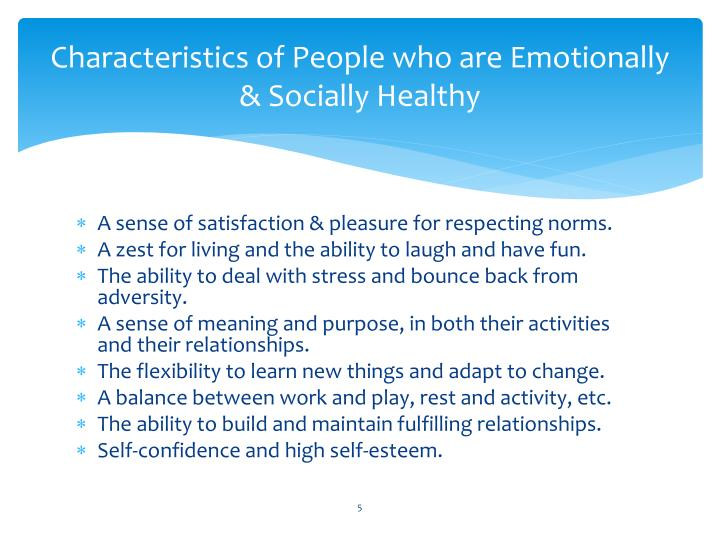 Characteristics of People who are Emotionally & Socially Healthy