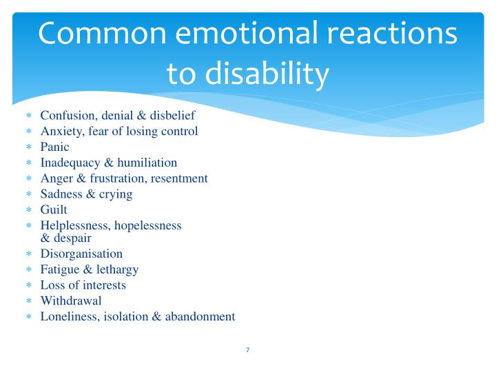 Common emotional reactions to disability