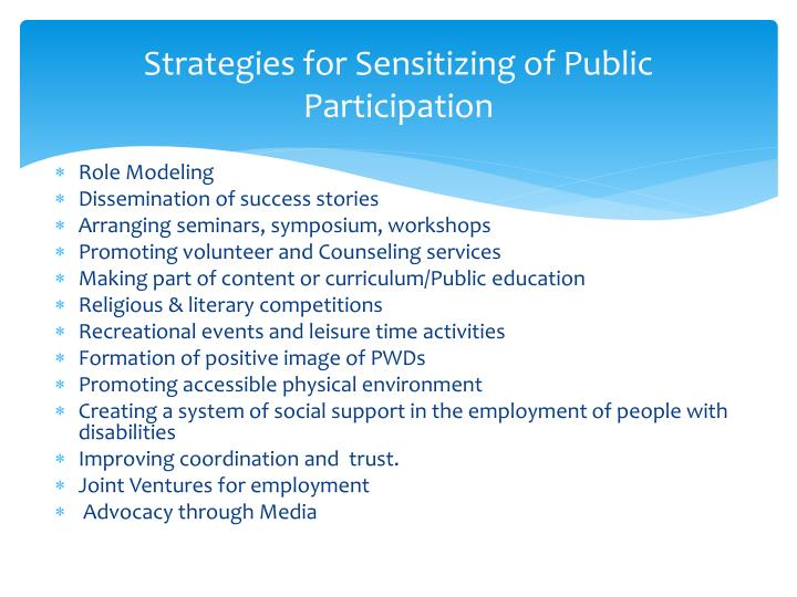 Strategies for Sensitizing of Public Participation