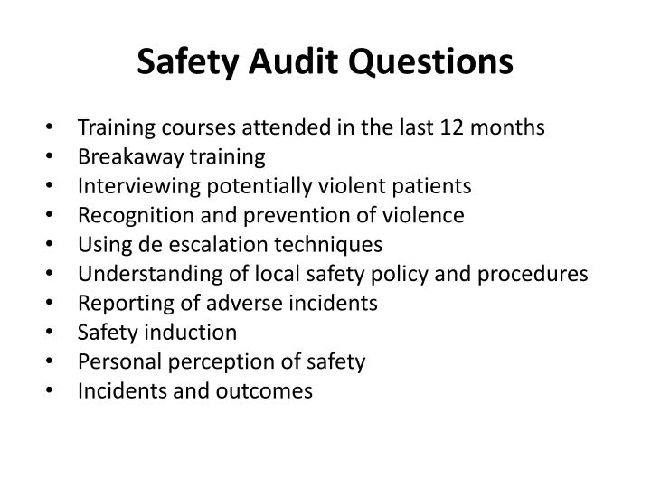 Safety audit questions