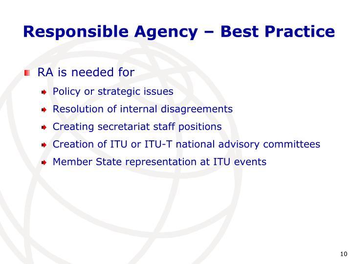 Responsible Agency – Best Practice