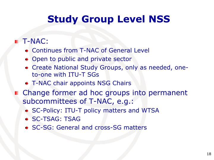 Study Group Level NSS