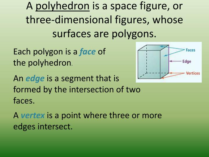 A polyhedron is a space figure or three dimensional figures whose surfaces are polygons