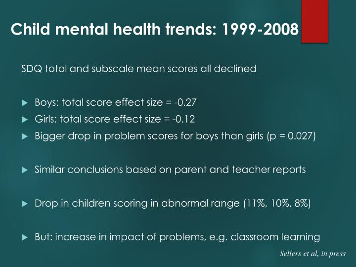 Child mental health trends: 1999-2008