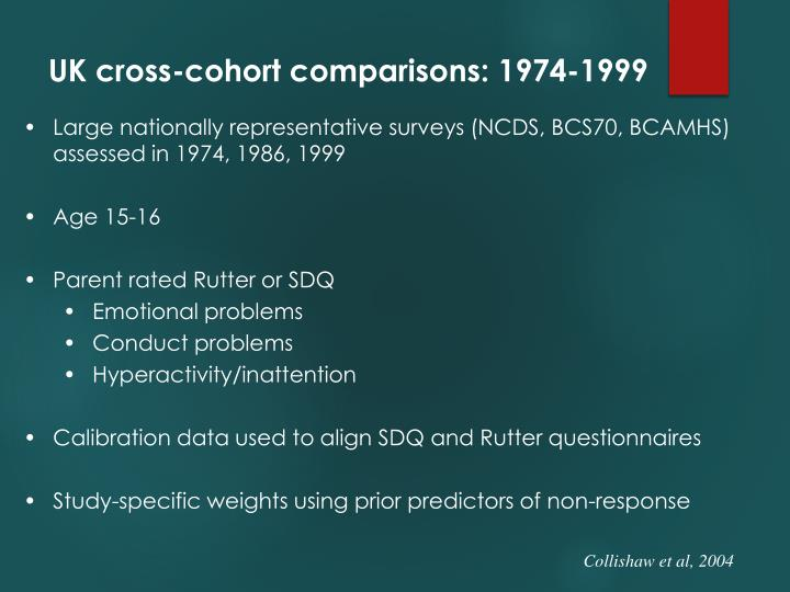 UK cross-cohort comparisons: 1974-1999