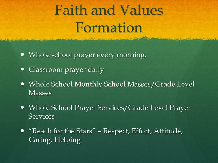 Faith and Values Formation